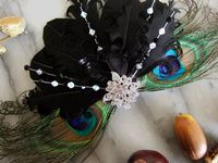 Black Goose and Peacock Feather fascinator. Bridal Fascinators. Peacock Fascinators. Peacock Feather Hair Clip. Black Feather Bridesmaids Hair accessories. Black Fascinator.